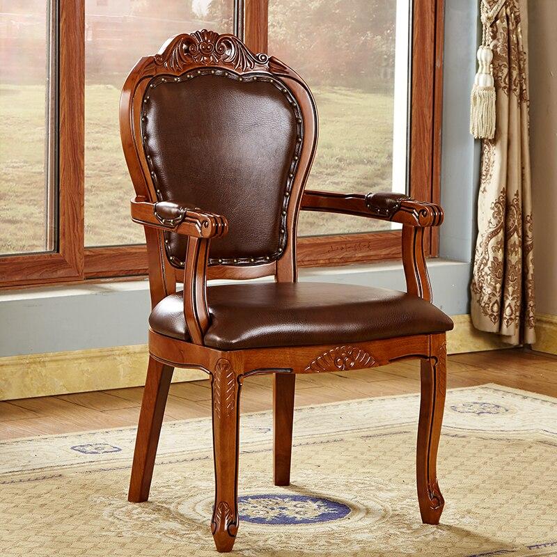 Cadeira de jantar de couro europeu, poltrona esculpida de madeira maciça americana, hotel high-end, lazer cadeira