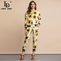 LD LINDA DELLA 2020 Summer Fashion Runway Casual Suits Women's Sunflower Floral Print Pants Two Pieces Set Tracksuits
