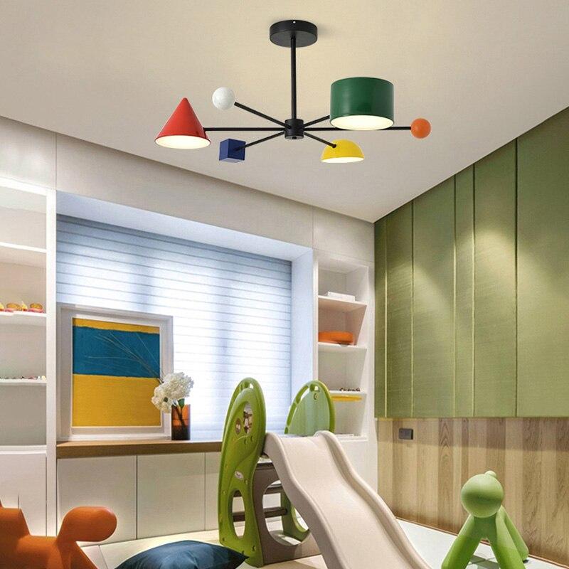 Image 4 - Artpad 30 Вт Светодиодная Подвесная лампа индивидуальная металлическая цветная детская комната геометрические блоки искусство тусклый 3 головки потолочные светильникиПодвесные светильники    АлиЭкспресс