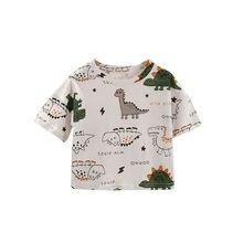 VIDMID Children's T-shirt Boy Dinosaur Cartoon Animal Print Children's T-shirt Girl's