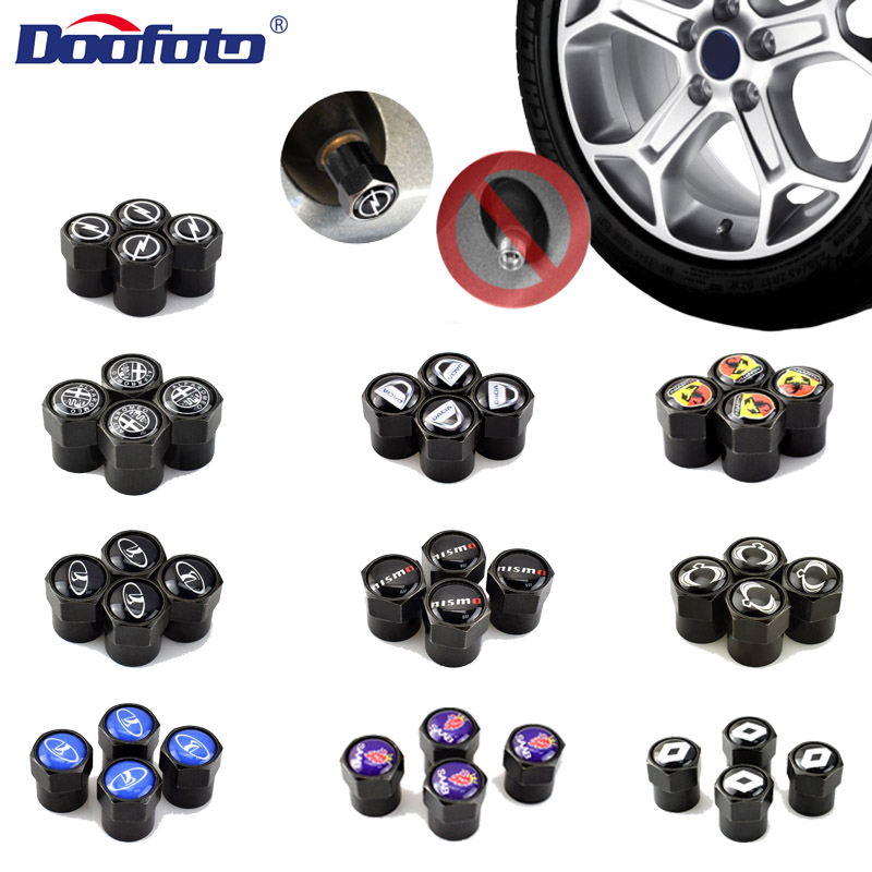 Doofoto 4x Car Valve Caps For Renault Opel Alfa Lada Nismo SsangYong C-HR 86 Accessories Car Styling Exterior Decoration Covers