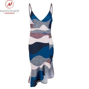 Image 3 - Women Streetwear Trumpet Dress Patchwork Design Ruffles Decor V Neck Sling Print Asymmetrical Dress Elegant Lady Slim Hips Dress