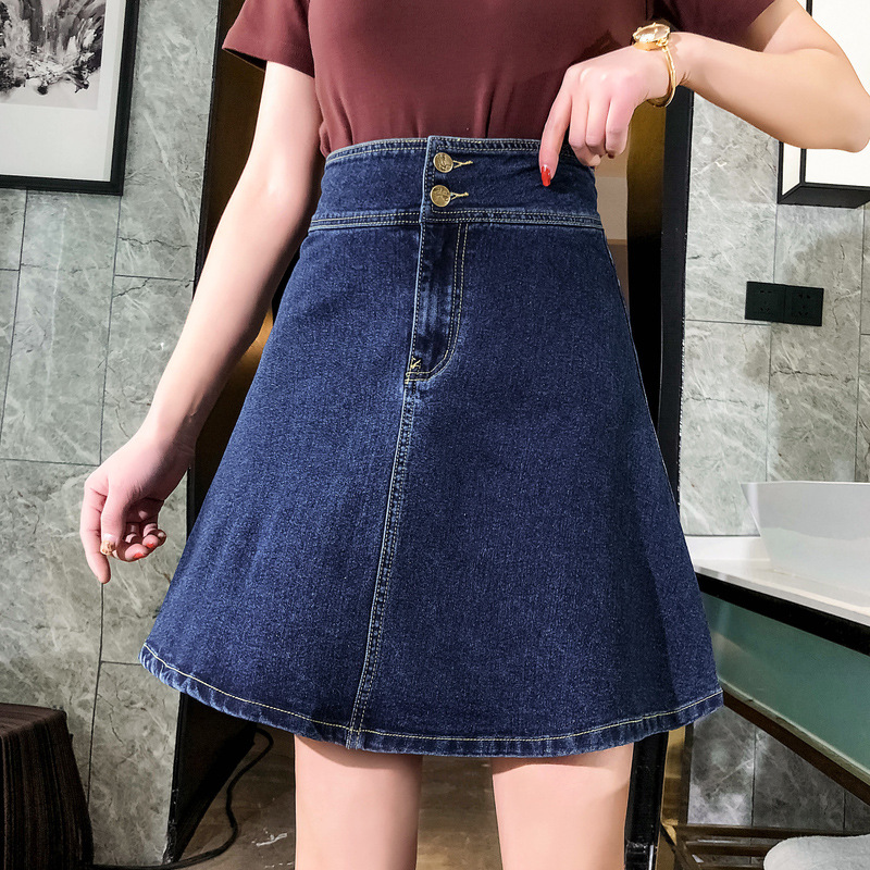 Denim Skirt 2019 Spring And Summer New Style Large Size Dress Fat Mm 200 A- Line High-waisted Buckle Skirt