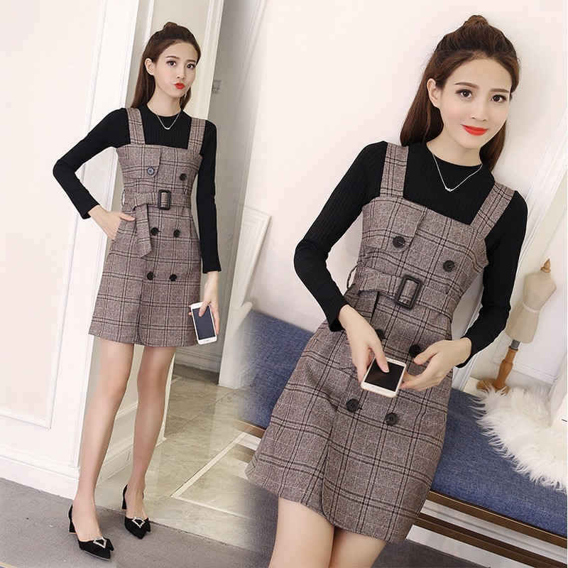 2018 Spring Clothing New Style WOMEN'S Dress Fashion Suspender Strap Set Full Body Dress Two-Piece Set Fashion Thick Spring