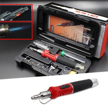 10 in 1 Professional Soldering Iron Set Butane Gas Iron Welding Torch Kit Tool Butane Soldering Iron Torch Household Hand Tools 10 in 1 professional butane gas soldering iron set butane soldering iron set 26ml welding kit torch welding equipment hs 1115k
