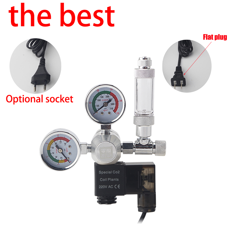 ZRDRA Quarium CO2 Regulator Magnetic Solenoid Check Valve Aquarium Bubble Counter Fish Tank Tool Pressure Reducing Valve
