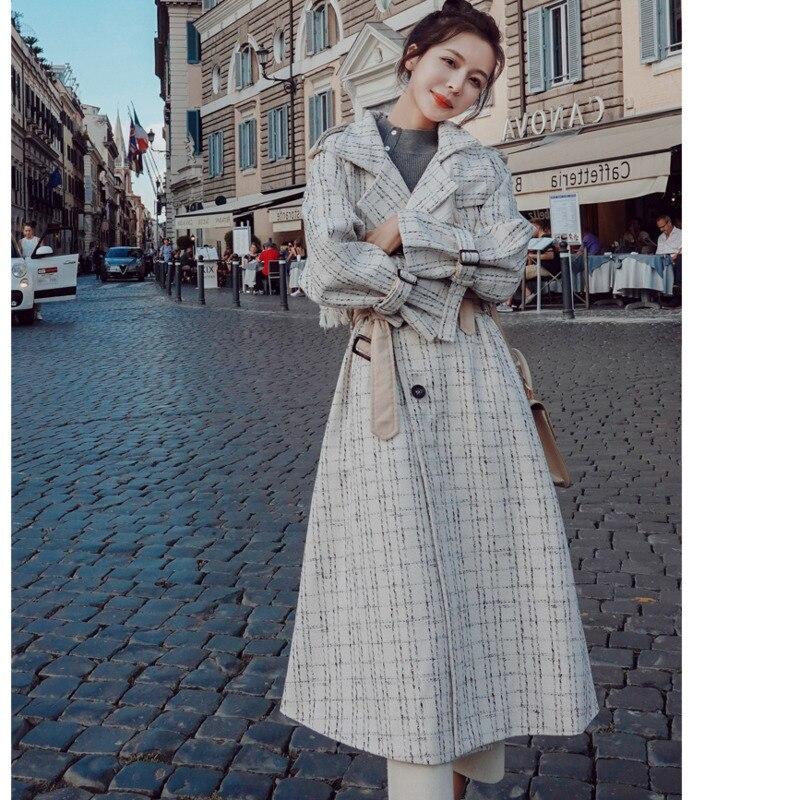 Casaco longo trench coat casacos feminino manteau femme moda feminina moda mujer mais tamanho do vintage elegante túnica roupas coreanas - 4