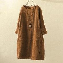 Женское винтажное свободное платье в стиле бохо с карманами, женское вельветовое одноцветное платье с длинным рукавом на осень и зиму, женское платье Vestidos