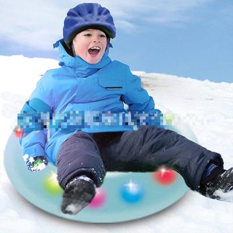 LED Inflatable  Ski Circle Blue Snow Tube Sledge Snow Ring Sleds Skiing Tube Boat Shaped  Skiing Sleds Raft Sports Toys