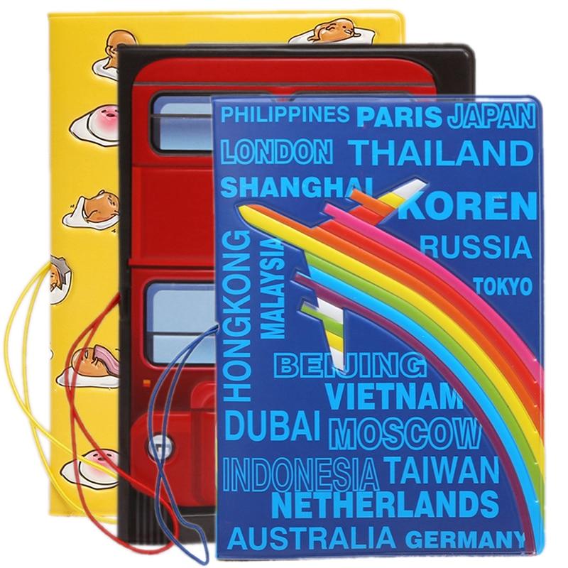 Cartoon Airplane Rainbow Passport Cover Women ID Address Holder Portable PU Leather Boarding Case Wallet Bag Travel Accessories