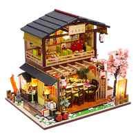 DIY деревянный набор кукольных домиков, 3D Собранный суши-магазин, домик ручной работы, мини-домик на Рождество, день рождения, подарок на день ...