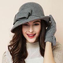 Женский праздничный официальный головной убор, Дамская Зимняя мода, асимметричный бант, шерсть, фетровые шляпы