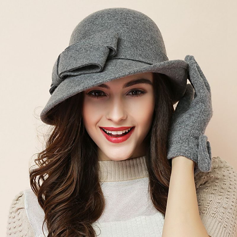 Frauen party formale headwear dame winter mode asymmetrische bowknot 100% wollfilz hüte