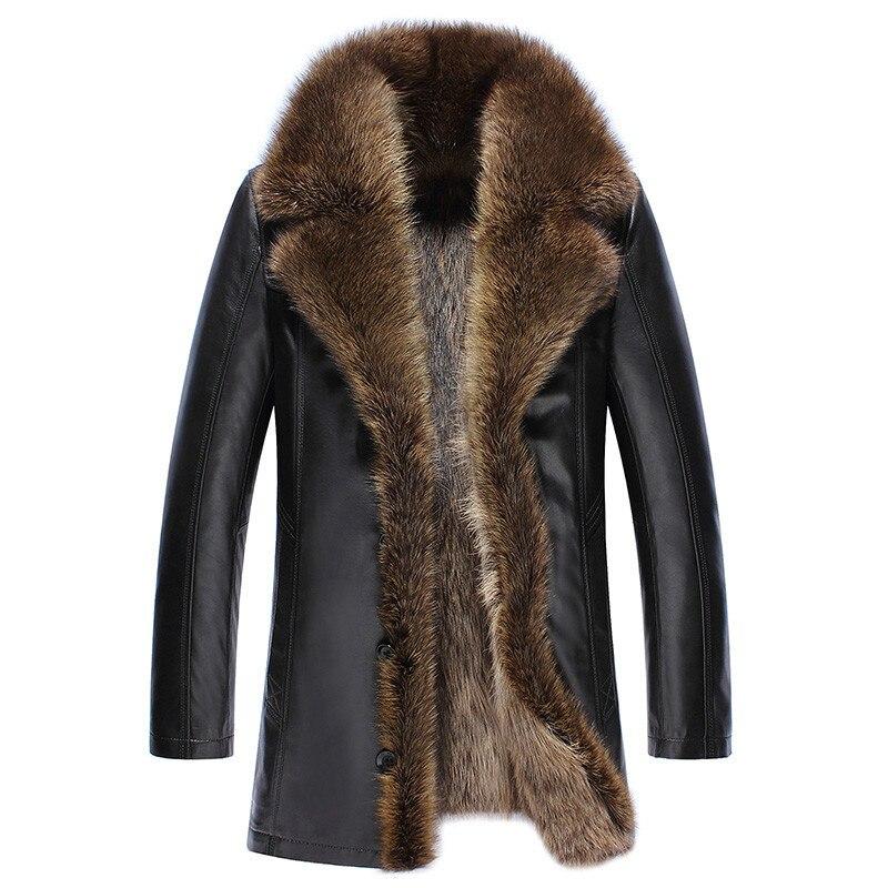 2020 Men's Genuine Leather Jacket Winter Real Fur Coat Raccoon Fur Liner Sheepskin Coat Warm Luxury Fur Coats 3649 KJ3643