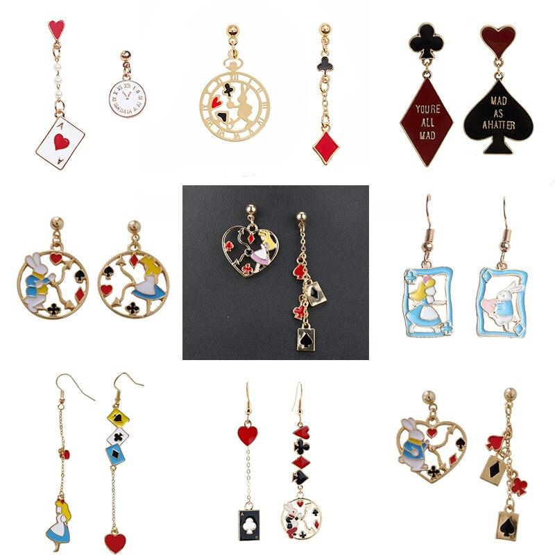 Алиса Wonderland Принцесса кролик асимметричные серьги-капли часы покер карта эмаль женские серьги Модные ювелирные изделия для девочек