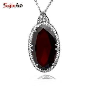 Image 1 - Серебряный кулон Szjinao для женщин, красный гранат, свадебный подарок для гостей, Настоящее серебро 925 пробы, Овальный драгоценный камень, Роскошные ювелирные украшения