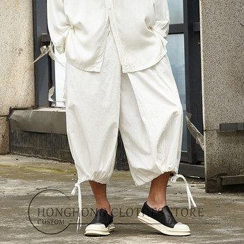 Original retro casual pants straight drum pants cotton hemp harem pants large size personality seven - minute harun pants