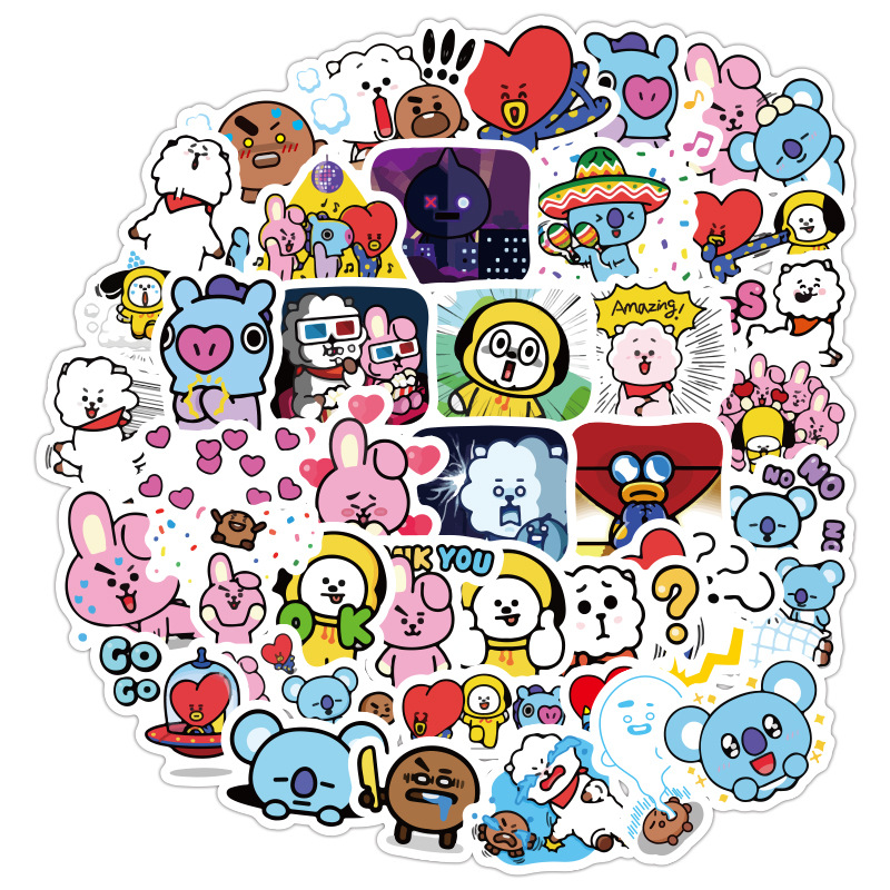 48 Universe Exploration Bangtan Boys Cartoon Kawaii Cute Girls Laptop Phone Computer Water Cup Waterproof Sticker Kids Toys