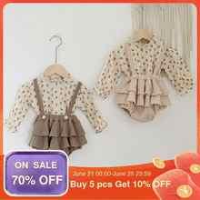 2 uds Vintage, ropa de bebé niña de algodón de verano de las niñas blusa, polera Floral vestido de bebé recién nacido de primavera niña ropa trajes