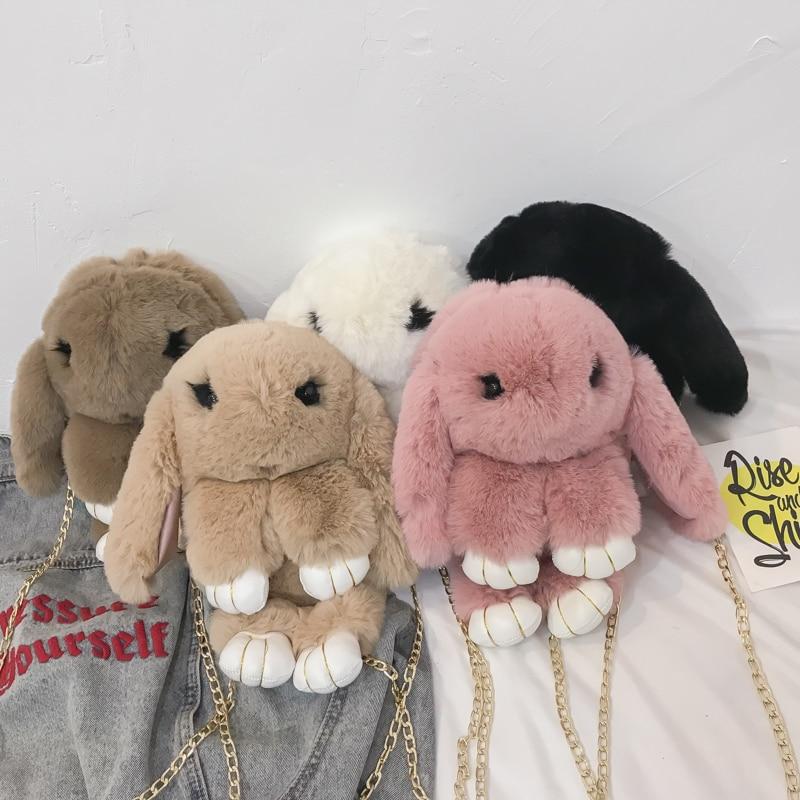 Cute Plush Bunny Rabbit Women Shoulder Bags Cartoon Lady Chains Crossbody Bag Luxury Faux Fur Messenger Bag Small Amimal Purses