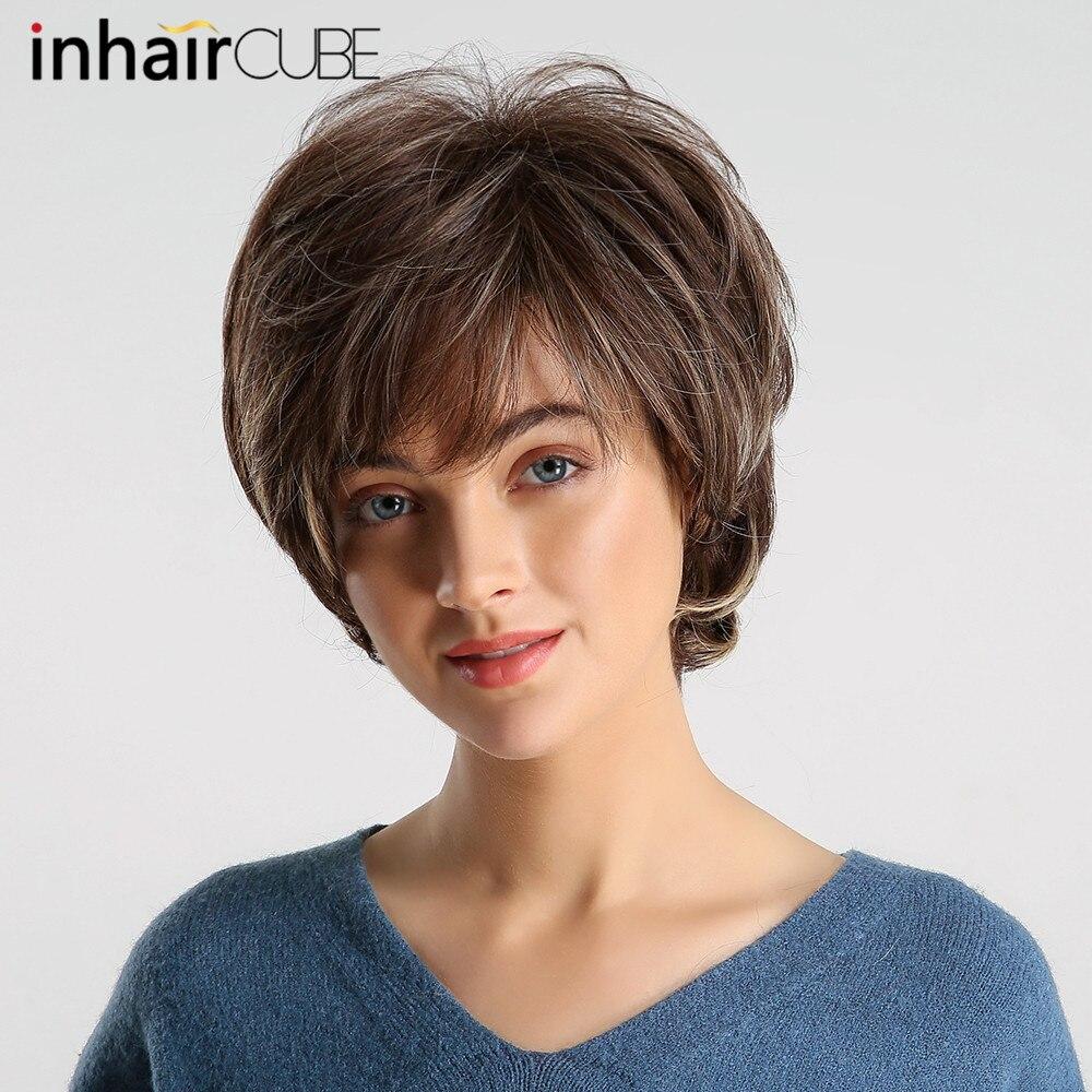 Inhair cube pixie sintético corte perucas femininas com franja natural macio em camadas reta cor mista resistente ao calor peruca de cabelo curto