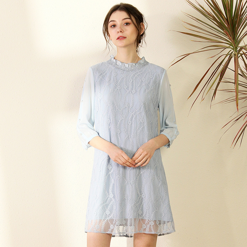 silk dresses women natural 2020 spring summer sky blue lace floral casual sexy dress elegant slim plus size high quality fashion