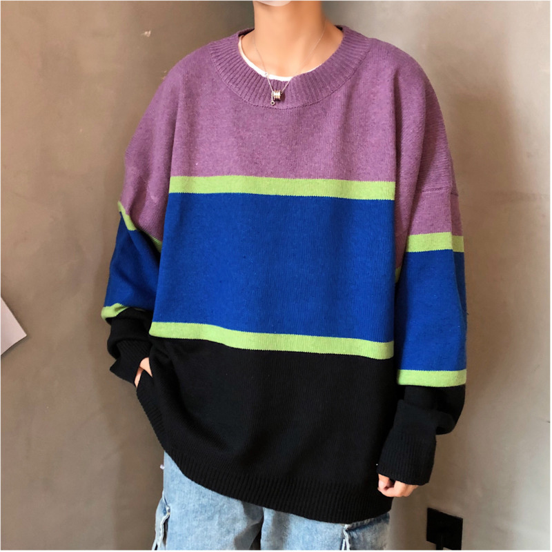 Winter Sweater Men's Warm Fashion Contrast Color Casual Knit Sweater Man Sweter Clothes Wild Loose Long-sleeved Pullover Men