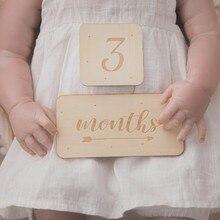 Neugeborenen Baby Holz Platz Zahlen Milestone Karten 7PCS Monat Sticke Fotografie Requisiten DIY Spielzeug Gravierte Alter Neugeborenen Geschenke