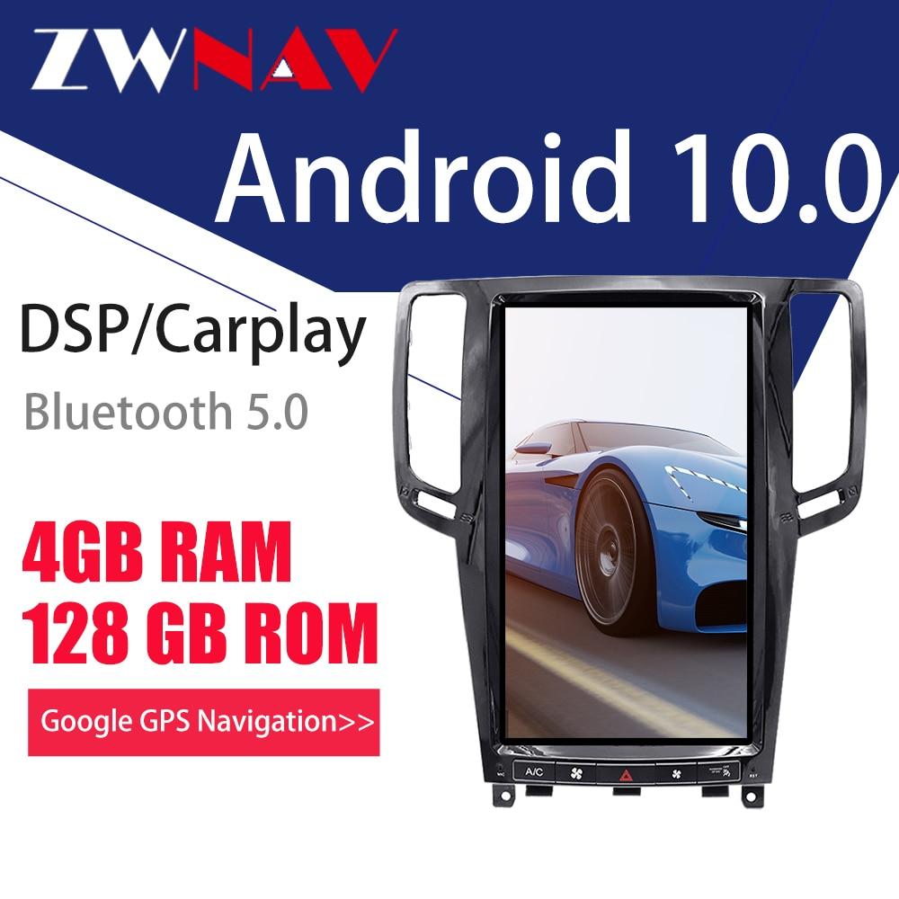Zwnavアンドロイド10 PX6 4G128Gテスラ画面carplayのため2007-2013インフィニティG25 G37ユニット自動オーディオステレオラジオレコーダー
