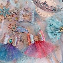 5 шт./лот градиент блесток Звездное Снежинка Бант Шпилька милая детская клипса заколка для волос для девочек зажим для волос Принцесса Корона ободки для волос