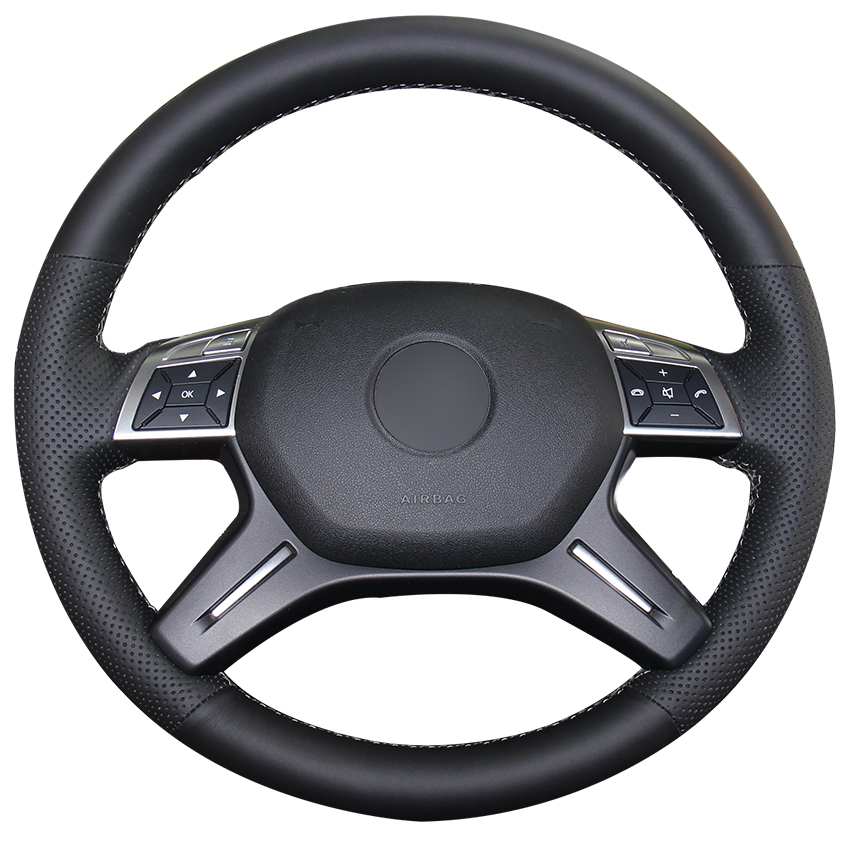 Black Genuine Leather Car Steering Wheel Cover for Mercedes Benz E-Class E300 GL-Class GL 350 400 500 550 M-Class ML 300 320 image