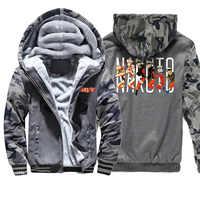 Naruto Winter Camo Jacke Männer Fleece Dicken Fleece Warme Herren Jacken Und Mäntel Japan Anime Hoodies Sweatshirt Camouflage Hoodie