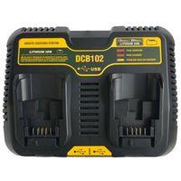 Hot 3C Tool Accessory Dcb102 Double Li Ion Battery Charger Usb Out 5V For Dewalt 10.8V 12V 14.4V 18V Dcb101 Dcb200 Dcb140 Dcb105|Chargers| |  -