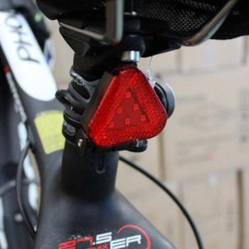 Red Triangle Taillight Triple Flash Mode Waterproof Headlight Bicycle Mountain Bike Helmet Lamp Safety Warning Light Tail Lamps image