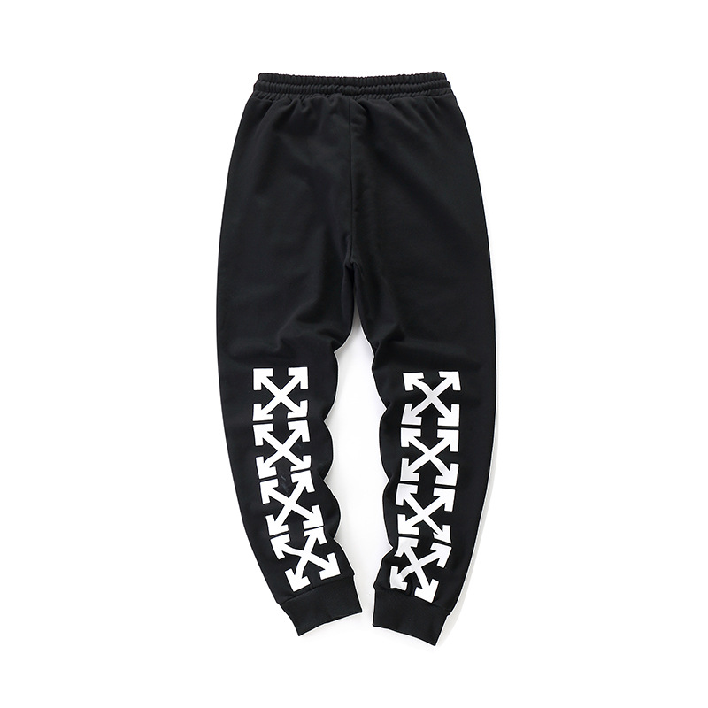 2018 New Style Off Ow White Spring That You Couples Ankle Banded Pants Arrowhead Zipper Pocket Gymnastic Pants