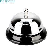 RETEKESS TD011 3.22 inch Call Bell Restaurant Service Bell Silver Tinplate Waiter Caller Bell Kitchen Calling System Hand Press