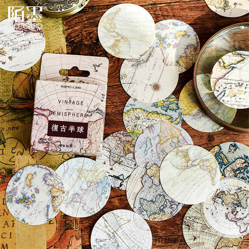 45pcs/pack Globe Totem Stationery Stickers Pack Posted It Kawaii Planner Scrapbooking Memo Stickers Escolar School Supplies