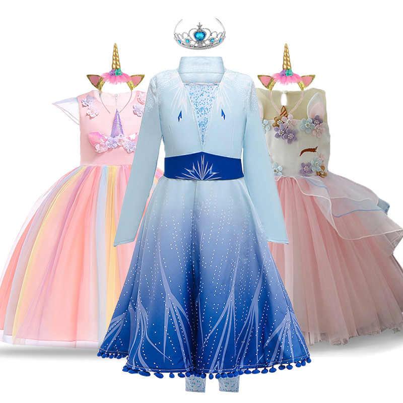 ชุด Anna Elsa สำหรับสาวยูนิคอร์นอีสเตอร์ Carnival เครื่องแต่งกายเด็กชุดสำหรับสาวปาร์ตี้ชุดเด็ก Snow Queen ชุดเจ้าหญิง