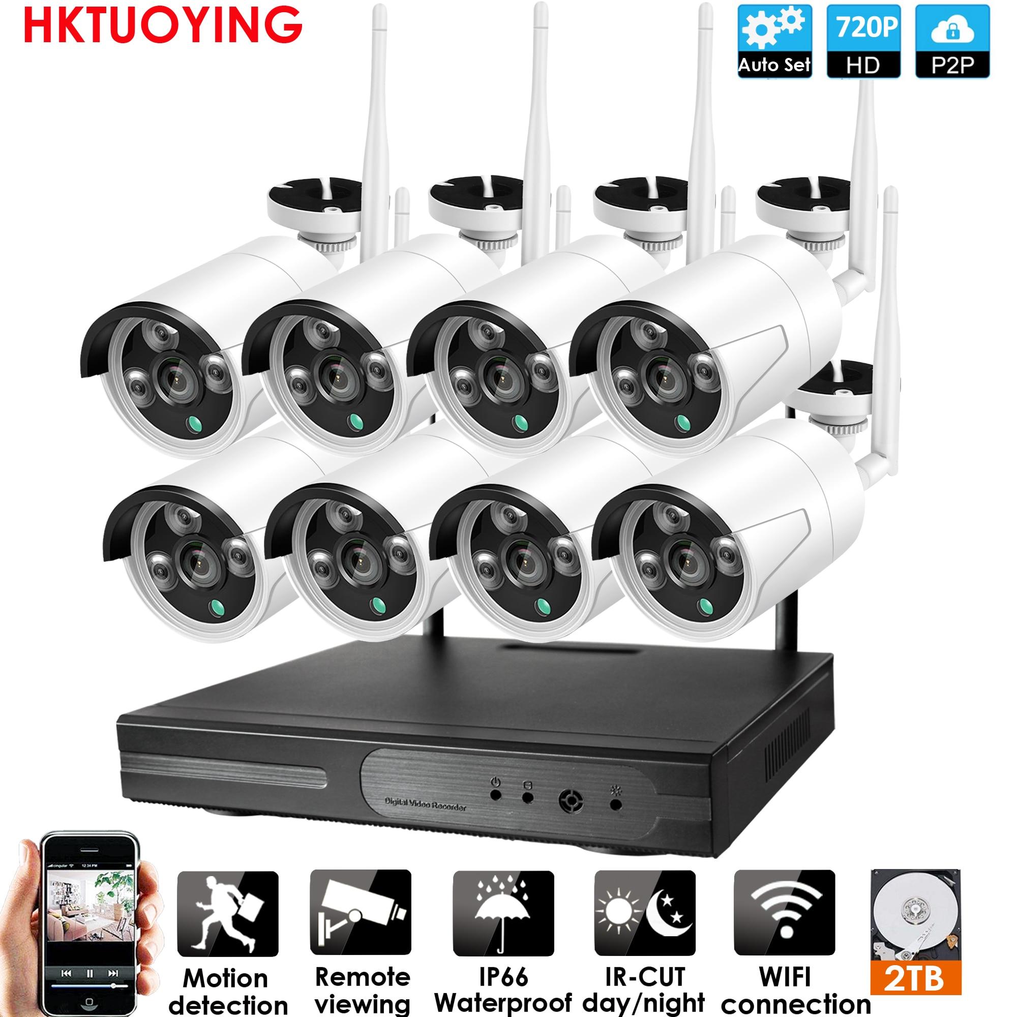 Plug and Play 8CH 1080P HD sans fil NVR Kit P2P 720P intérieur extérieur IR Vision nocturne sécurité 1.0MP IP caméra WIFI système de vidéosurveillance