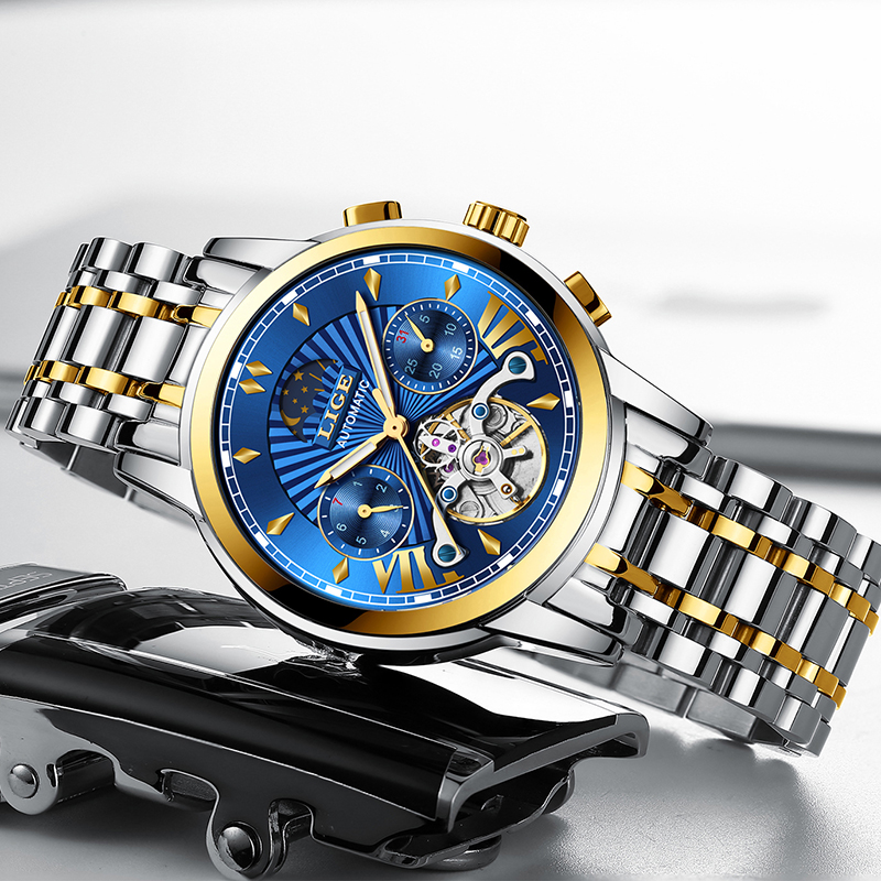 Image 4 - LIGE Men Watch Tourbillon Automatic Mechanical Watch Top Brand Luxury Stainless Steel Sport Watches Mens Relogio Masculino 2019-in Mechanical Watches from Watches
