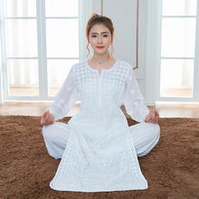 Dubai Casual WearYoga Wear Clothes Girls Long Pure Cotton Embroidery Thin Kurti And Pant pakistan In