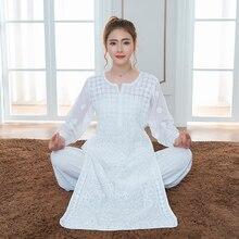 Dubai Casual WearYoga Wear Clothes Girls Long Pure Cotton Embroidery Thin Kurti And Pant pakistan India Kurtis