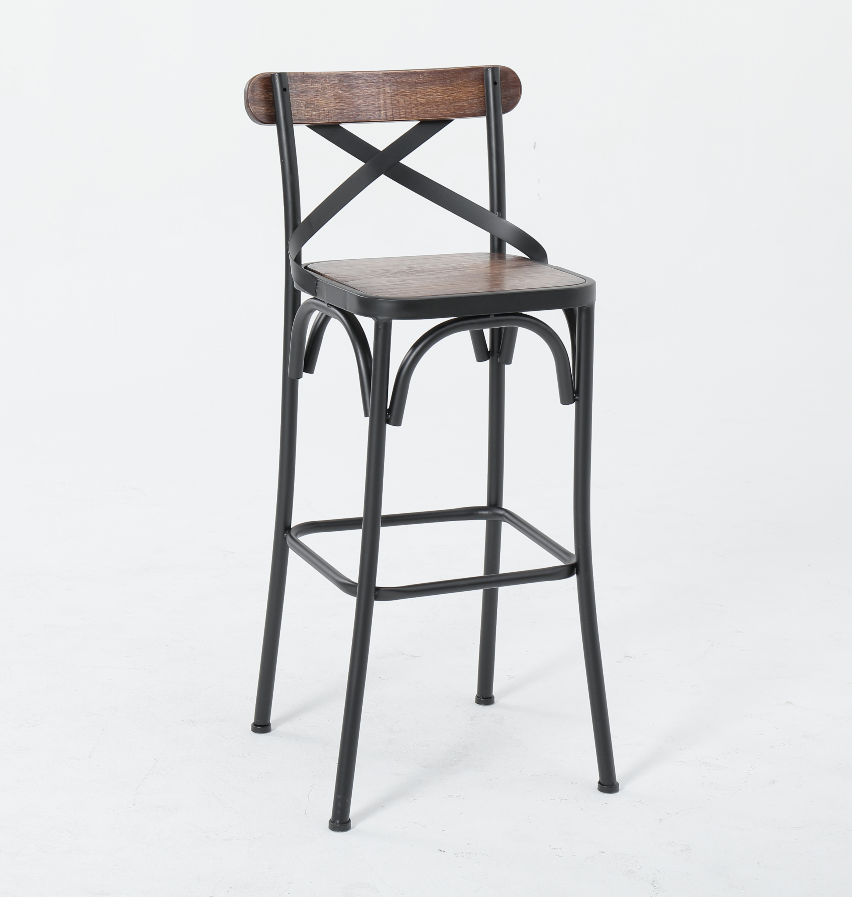 American High Stool Wrought Iron Solid Wood Bar Stool With Back High Chair Bar Chair Bar Chair Cashier Chair