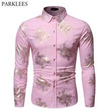 Camisa brillante con estampado Floral dorado para hombre, ropa masculina de manga larga ajustada, informal para boda y fiesta, color rosa, 2019