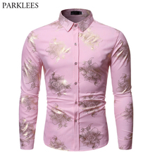 Shiny Gold Floral Print Pink Shirt Men 2019 Brand New Slim Fit Long Sleeve Mens Dress Shirts Party Wedding Casual Social Shirt