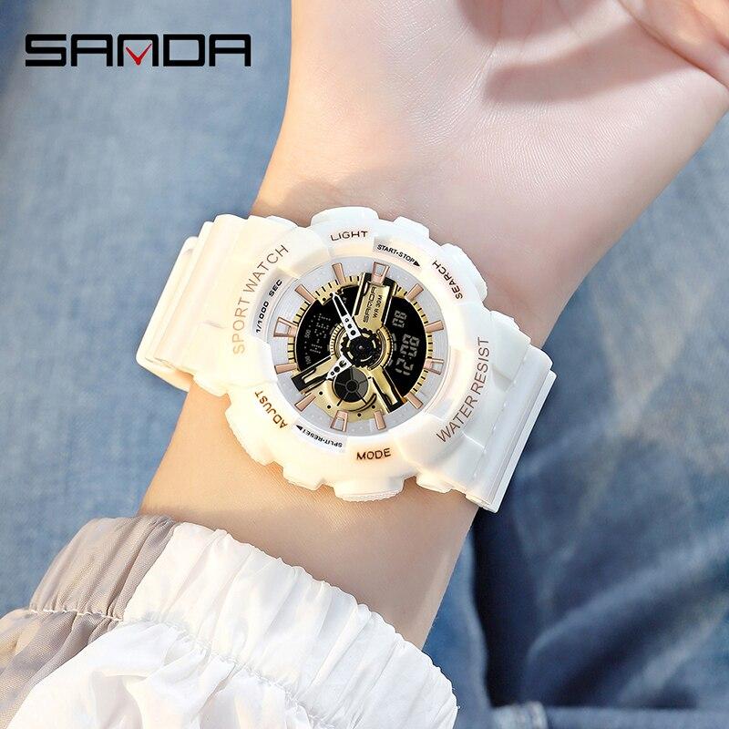 SANDA filles montres mode Bracelet horloge antichoc compte à rebours femmes montre de luxe lumineux 4 réveils montre-Bracelet 4