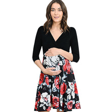 Summer Pregnant Women Nursing Dress Clothes Half sleeve Maternity Flower Pregnancy Casual S-XXL