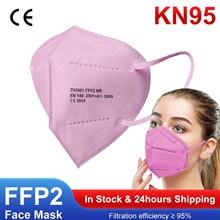 5/10/20/50 pçs adulto rosa kn95 máscara facial mascarilla fpp2 homólogo ffp2mask 5ply camadas máscara respiratória kn95 mascarillas máscara