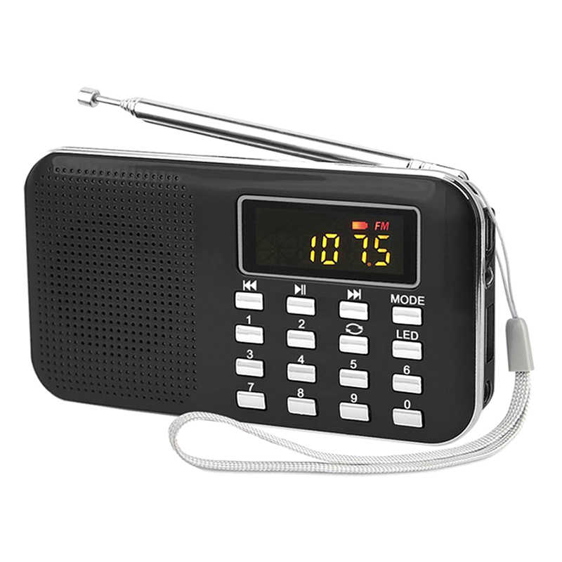Portátil FM radio Mini LCD Digital FM Radio TF USB/mini tarjeta SD de 16GB MP3 estéreo reproductor de música negro