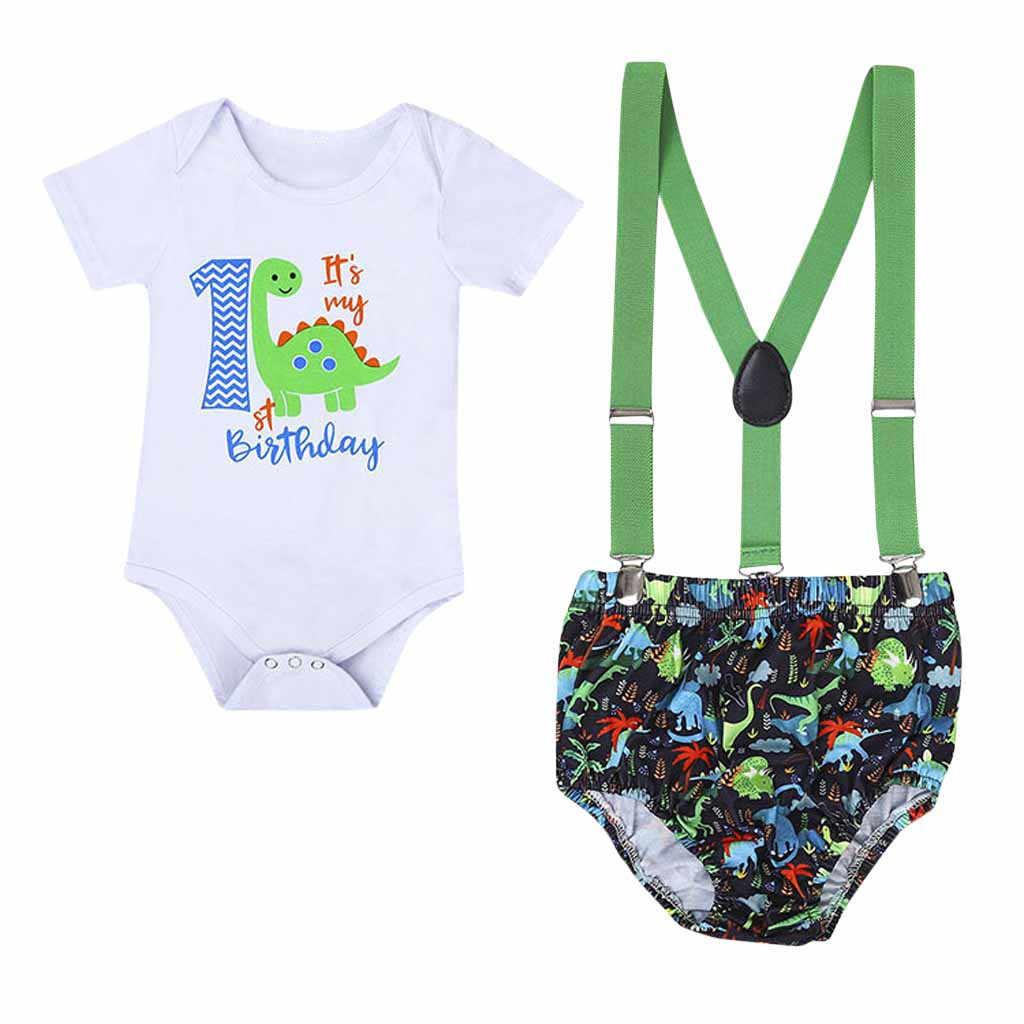 Newborn Infant Baby Boys Letter Gentleman Birthday Romper Straps Shorts Outfits